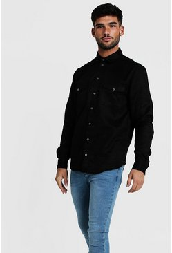 Mens Black Western Faux Suede Long Sleeve Shirt