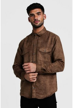 Tan Western Faux Suede Long Sleeve Shirt