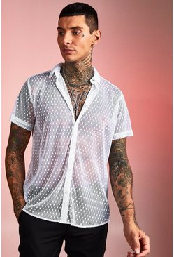 Herr White Short Sleeve Sheer Polka Dot Shirt