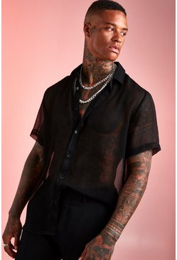 Mens Black Sheer Short Sleeve Shirt