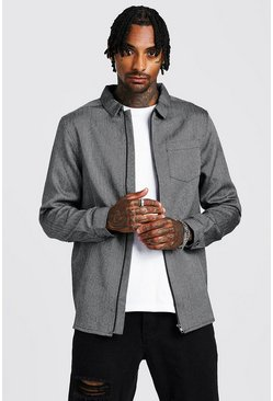 Mens Grey Herringbone Zip Through Overshirt