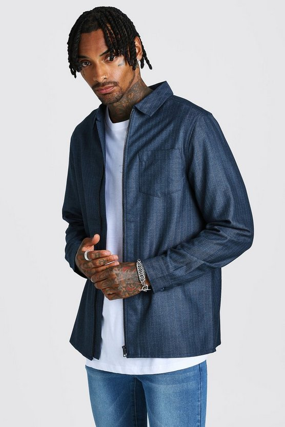 Mens Navy Jacquard Zip Through Overshirt