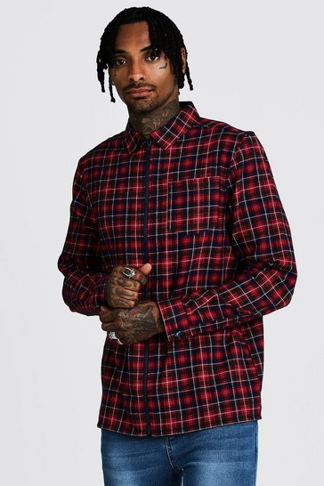 Mens Red Check Zip Though Overshirt