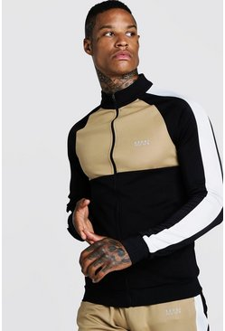 Herr Sand MAN Funnel Neck Colour Block Zip Through Track Top