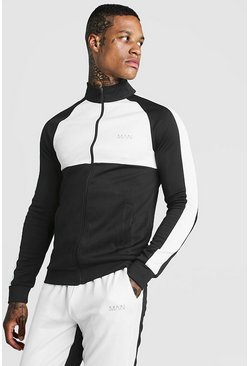 White MAN Funnel Neck Colour Block Zip Through Track Top