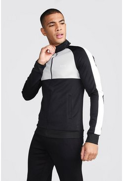 Mens Grey MAN Funnel Neck Colour Block Zip Through Track Top