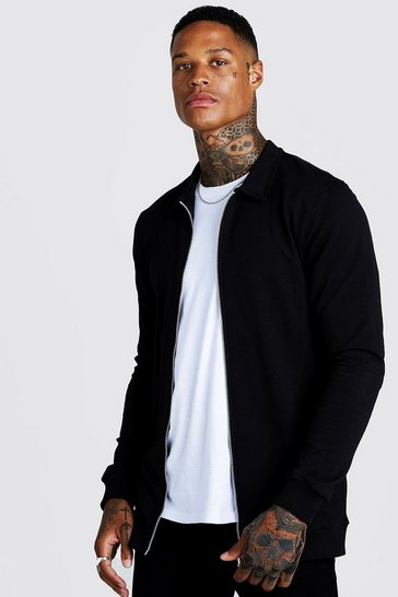 Mens Black Muscle Fit Jersey Harrington