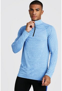 Herr Blue Active Funnel Neck Muscle Fit Marl Top