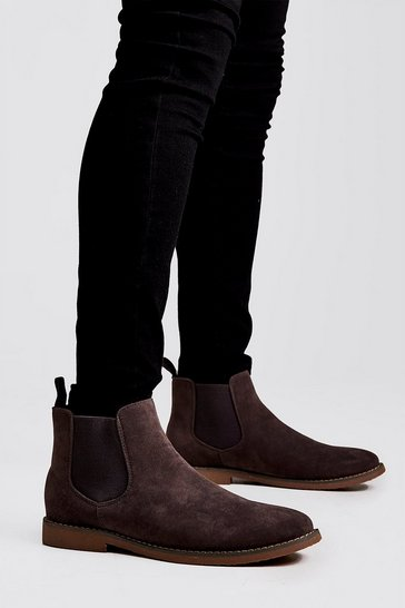 Mens Grey Faux Suede Chelsea Boots
