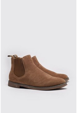 Sand Faux Suede Chelsea Boots