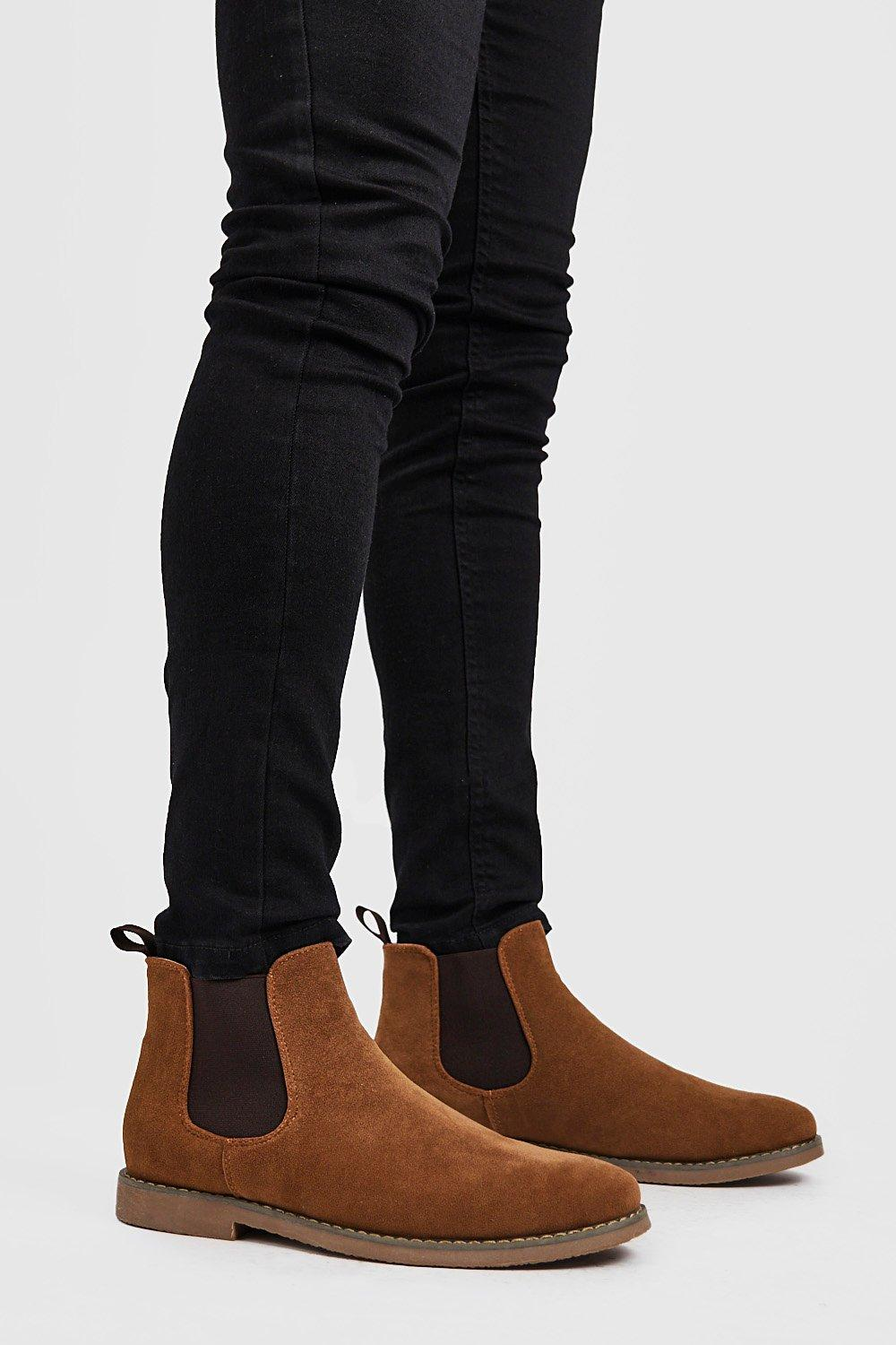 mens faux suede chelsea boots - brown