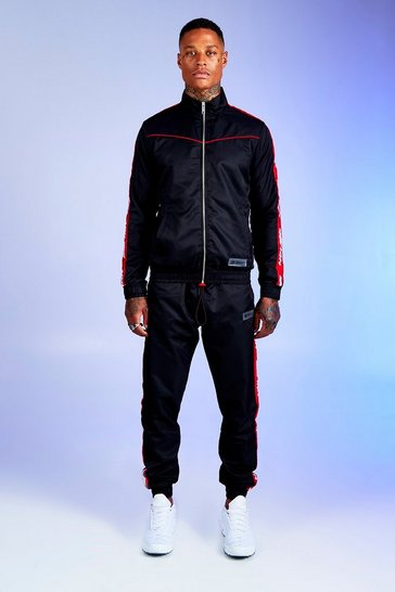Black Deno Driz Shell Tracksuit With Red MAN Tape