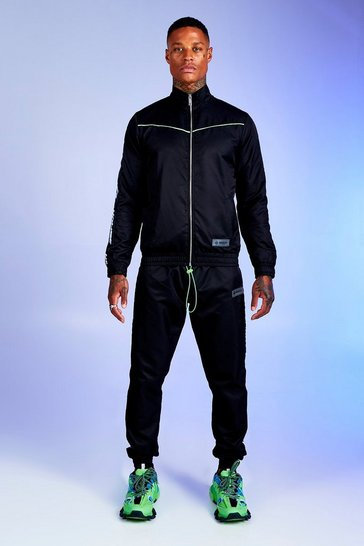 Black Deno Driz Shell Tracksuit With MAN Tape
