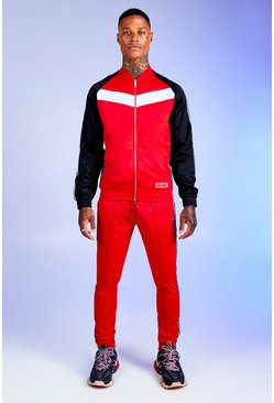 Mens Red Colour Block Tricot Tracksuit