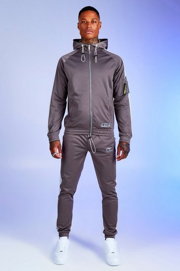 Mens Slate Deno Driz Tricot Hooded Funnel Neck Tracksuit