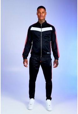 Mens Black Deno Driz Colour Block Tricot Tracksuit