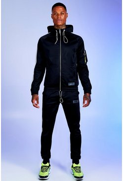 Black Deno Driz Tricot Hooded Funnel Neck Tracksuit