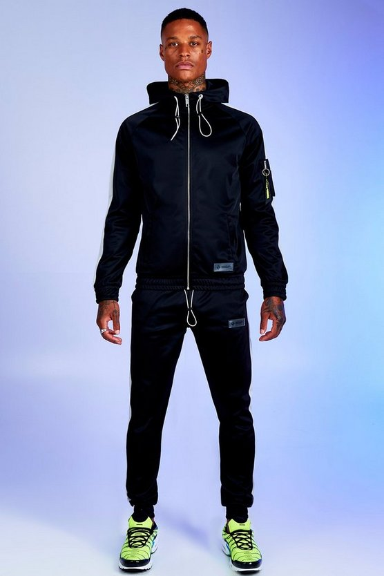 Mens Black Deno Driz Tricot Hooded Funnel Neck Tracksuit