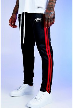 Mens Black Deno Driz Red Tricot Joggers With BHM Print