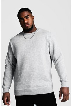 Mens Grey marl Big and Tall Basic Sweater