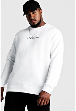 Big & Tall Pullover mit MAN-Stickerei, Weiß, Herren