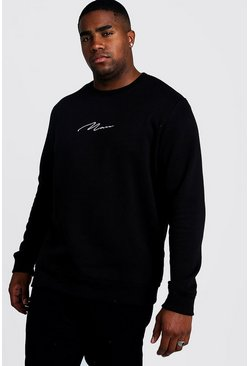 Big & Tall Pullover mit MAN-Stickerei, Schwarz, Herren