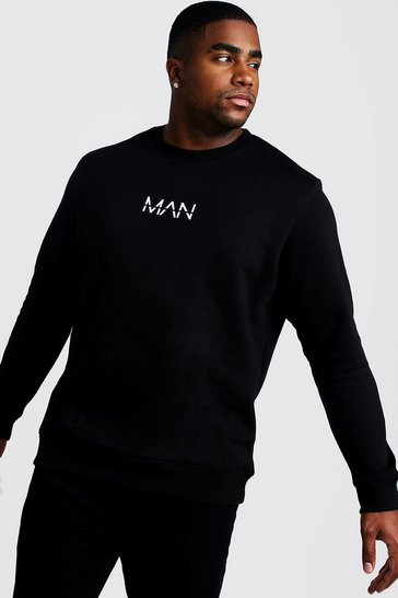 Mens Black Big & Tall Sweater With MAN Print