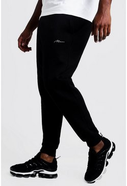 Black Big & Tall - MAN Slim fit joggers med brodyr