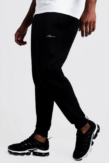 Mens Black Big and Tall MAN Script Slim Fit Jogger