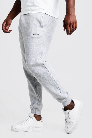 Mens Grey marl Big and Tall MAN Script Slim Fit Jogger