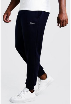 Navy Big & Tall - MAN Slim fit joggers med brodyr