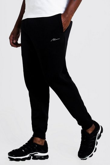 Mens Black Big and Tall MAN Script Skinny Fit Jogger