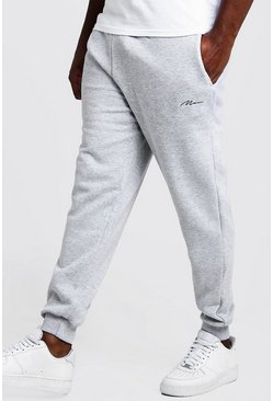 Mens Grey marl Big and Tall MAN Script Skinny Fit Jogger