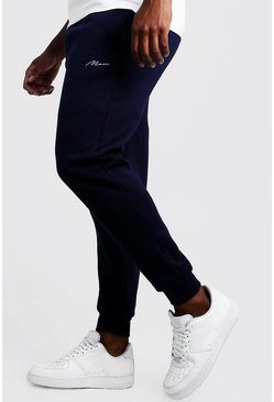 Mens Navy Big & Tall Skinny Fit Joggers MAN Embroidery
