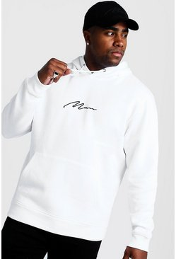 Mens White Big and Tall MAN Script Hoodie