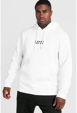 Mens White Big and Tall MAN Dash Hoodie