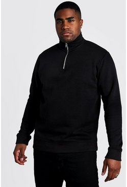 Mens Black Big and Tall Basic Funnel Neck Jumper