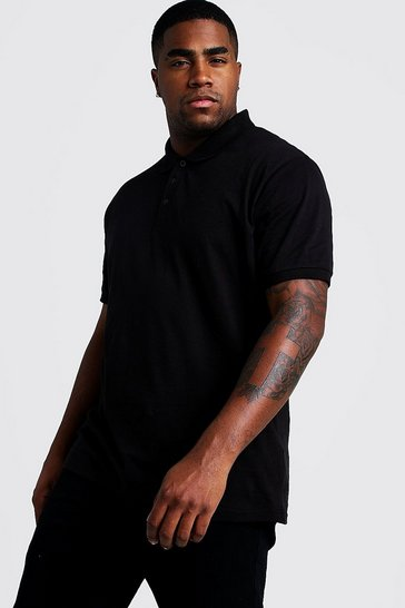 Mens Black Big and Tall Basic Short Sleeve Polo