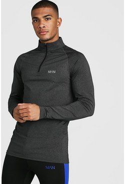 Herr Black MAN Active Funnel Neck Muscle Fit Marl Top