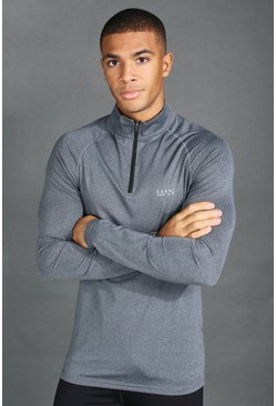 Mens Charcoal MAN Active Funnel Neck Muscle Fit Marl Top