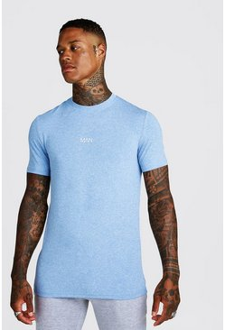 Mens Blue MAN Active Marl T-Shirt