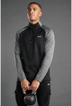 Black Active Funnel Neck Track Gym Top