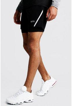 Mens Black MAN Active 2 In 1 Gym Shorts