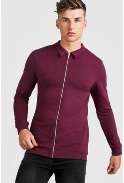 Wine Muscle Fit Jersey Harrington