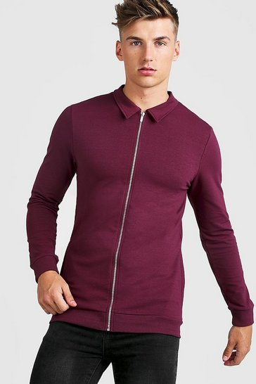 Mens Wine Muscle Fit Jersey Harrington