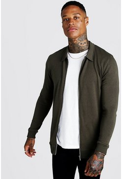 Mens Khaki Muscle Fit Jersey Harrington