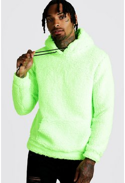 Mens Neon-green Borg Over The Head Hoodie