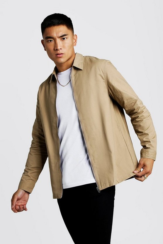 Mens Taupe Cotton Zip Through Overshirt