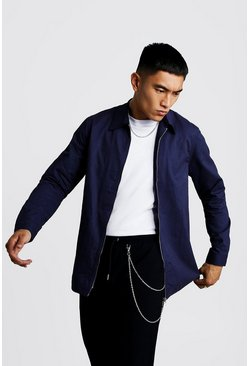 Navy Cotton Zip Through Overshirt