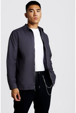 Mens Slate Cotton Zip Through Overshirt